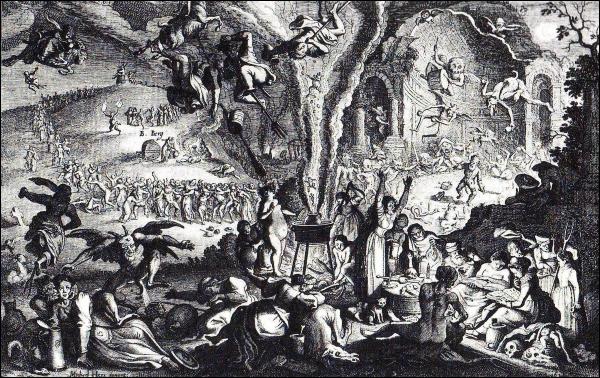 Scènes représentants des sorciers, des sorcières et des démons