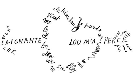 Calligramme de Guillaume Apollinaire représentant un coeur fleché